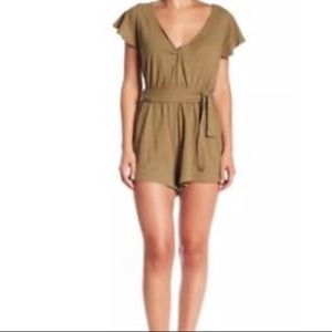 Free People Boho Twisted Ballerina Green Romper
